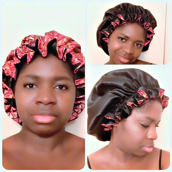 Accessories - African Ankara Satin Bonnet FREE with bundle